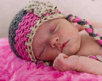Newborn/baby/infant crochet hat with braids and flower. Gray and pink newborn hat.