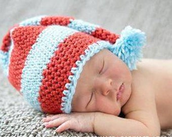 Newborn/baby/infant crochet stocking hat with pom pom. Baby blue and red hat. Newborn photo prop.