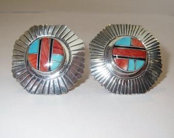 Native American Navajo Sterling Silver Joe  Corbet Multi Channel Clip On  Earrings