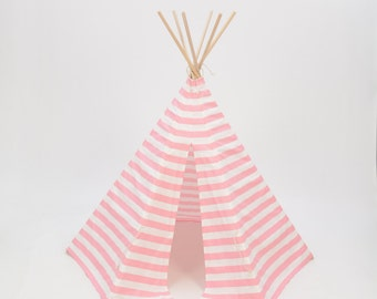 SALE!! Poles Included Teepee Play Tent- poles included pink and white stripe - 6 panel