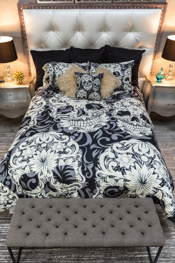 skull bedroom decor featherweight skull bedding sugar skull and scroll by 13167