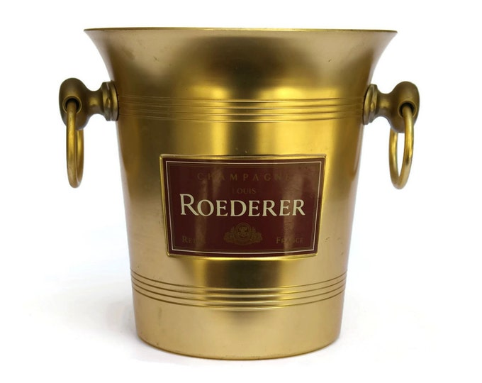 Gold Champagne Cooler Bucket with French Advertising for Louis Roederer Champagne. Vintage Barware French Wine Ice Bucket.