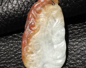 Untreated Jadeite Pendant, A Grade Natural Jade, Vintage Carving