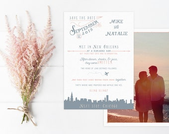 Custom Love Story Save the Date with Photo