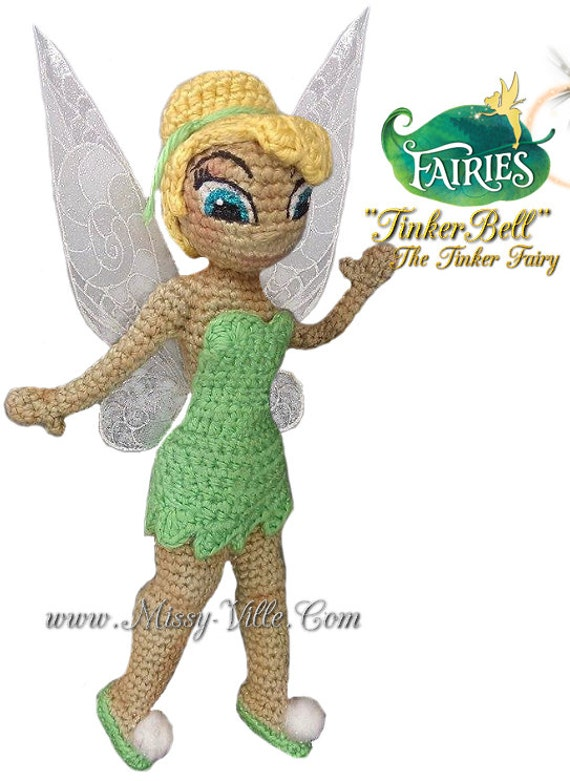 Free Crochet Pattern For Tinkerbell Hat : 10 26cm Tinkerbell . Disney Fairy Pixie Hollow. OOAK by ...