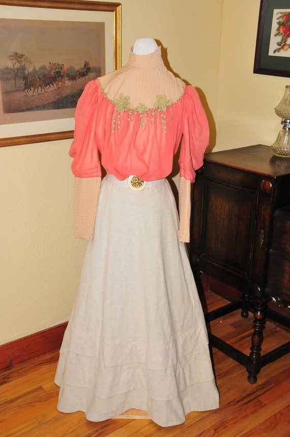 Guide to Victorian Civil War Costumes on a Budget Edwardian skirt and waist(blouse) $198.00 AT vintagedancer.com