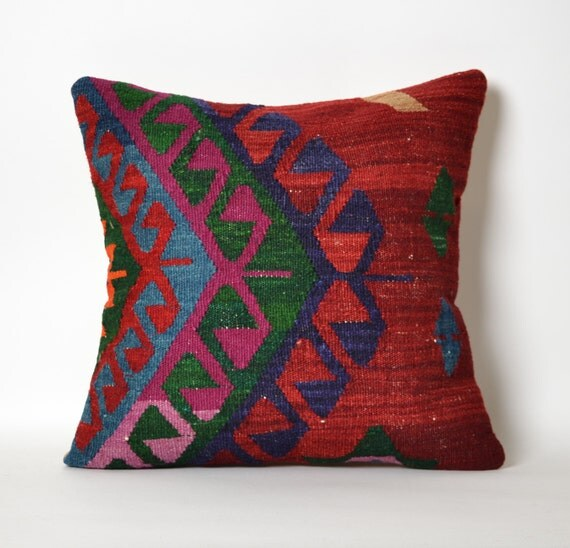 ethnic pillow decorative pillow cushion cover kilim pillow