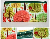 Pencil case Pen Case Zipper Pencil Pouch Green Pencil Case Cotton Pencil Case Woodland Fabric Tree Fabric Make up Case Gifts for her