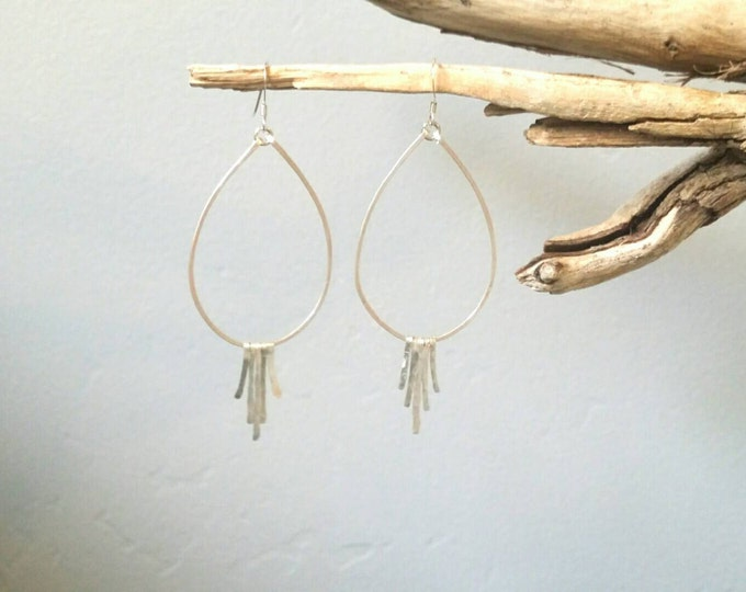 Sterling Silver Fringe Earrings, Silver Hoops, Hammered Earrings, Fringe Earrings, Teardrop Earrings, silver or gold