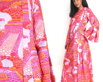 Vintage 60s 70s Psychedelic Pink Orange Op Art Bell Sleeve Maxi Caftan Dress Hippie