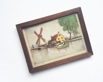 Little windmill picture in wooden frame - Holland, Netherlands, art, postcard, rustic, shabby chic, home decor, wall decor, Europe