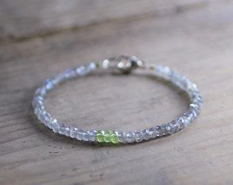 Labradorite & Peridot Beaded Bracelet in Sterling Silver or Gold Filled, Delicate Peridot Birthstone Jewelry, Grey Green Gemstone Bracelet