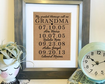 My greatest blessings call me Grandma |Personalized Burlap Print | Children's names and birthdates | Christmas Gift |Frame not included