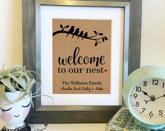 Welcome to our nest | Personalized Family Name Sign | Burlap Print | Mother's Day Gift | Gifts for Her | Frame not included