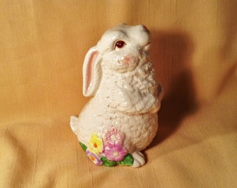 Adorable Bunny Rabbit Figurine - Easter Decor - Bunny Sitting Up on Haunches, Flowers at Base