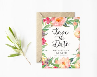 Save The Date, Coral Flowers, Hand Painted Save The Date Cards, Calligraphy Script