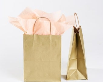 50 Gold Gift Bags with Handles for Wedding Guests, Welcome Bag, Party Favor | Bulk Wholesale Kraft Paper Bag in Metallic Gold