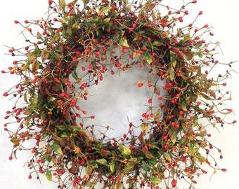 Fall Wreath, Autumn Wreath, Harvest Wreath, Woodland Wreath, Fall Floral, Fall Door Decor, Rustic Wreath, Fall Berry Wreath, Orange Wreath