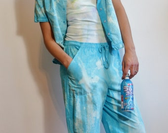 Destroyed Bleached Grunge Tie Dye Kawaii Vintage Shirt & Pants Festival Fashion Aesthetic  Upcycled Reworked by thriftalina
