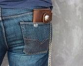 Leather Biker Wallet, Leather iPhone Wallet Case #012