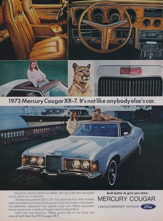 Cougar Vintage September 2013: 1973 Mercury Cougar XR-7 Ad Ford Classic Car Vintage
