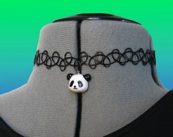 PANDA CHOKER // Kawaii Cute Cyber Necklace Stretchy
