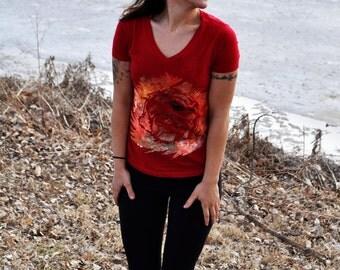 Hand painted Blissful Lion Women's V-Neck T-shirt