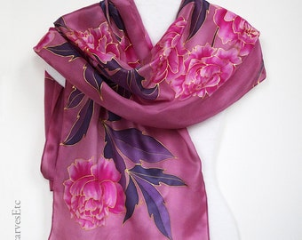 Hand painted silk scarf, Pink peonies scarf, Large floral pink purple scarf, Artist silk scarf, Wine color silk, Gift for her, Mom's gift
