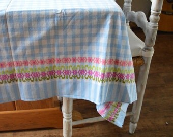Vintage tablecloth, Checked, Checkered, blue and white, Gingham, picnic blanket, table linen