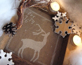 Pattern: The First Snow Cross Stitch - Primitive Hare