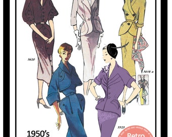 1950s Wiggle Suits Vintage French Sewing Pattern - Paper Pattern - Pin Up - Rockabilly -