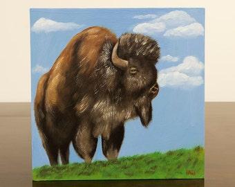 Original Buffalo Oil Painting, Bison, Animal