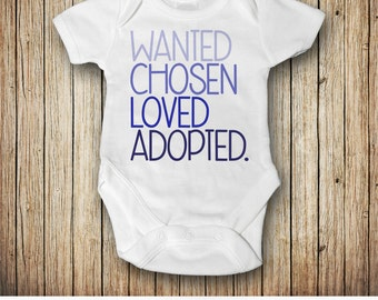 Adopted Bodysuit, Adoption Bodysuit Announcement, Adoption Gift, Baby Boy Gift