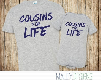 Matching Cousin Shirts, Cousins For Life, Shirts for Cousins, Cousin Gift, Big Cousin Little Cousin Tshirts,  New Cousin Announcement