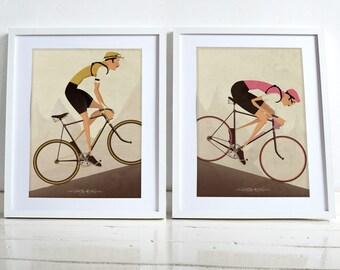 Two Vintage Style Cyclist Bike Bicycle race Poster Wall Art Print Set Home Décor