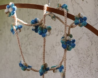 HAND CROCHET Blue with tan of  beige and white flowers shawl,  necklace, ready to ship