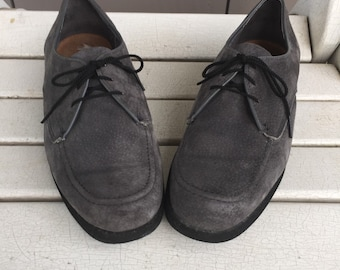 1970's Charcoal Suede Leather Oxford Shoes by 'Hush Puppies' Men's Size 8 Ladies Size 9