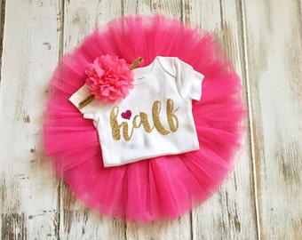 Half Birthday Outfit Girl- Hot Pink and Gold Half Birthday Outfit- Hot Pink Gold Half Birthday Outfit- Hot Pink and Gold Half Birthday Tutu