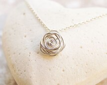 Rose Necklace, Sterling Silver Wire Wrapped Necklace, Silver Wire Rose, WireWrapped Jewelry, Simple Necklace, Sterling Silver