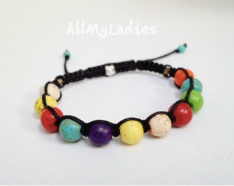 Bracelet shamballa multicolor turquoise beads, black color strap