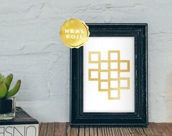 Real Gold Foil Geometric Art 4x6 - 5x7 - Geometric Squares - Modern Minimalist Art - Gold Modern Art - Gold Wall Art - Square Art Print