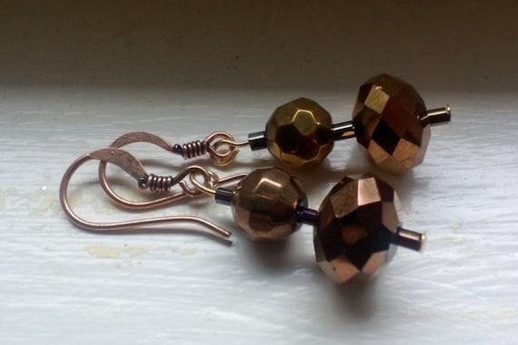 Rustic Dangle Earrings, Simple Copper Jewelry, Small Copper Earrings