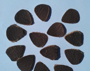 Real brown leather (distressed look) retro guitar picks