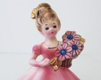 "September Josef Birthday Girl Figurine Simulated Blue Sapphire Vintage 4"""