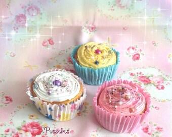SALE! OOAK Set of 3 Handmade Glittery Cupcake Ornaments