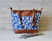 Womens Brown Recycled Leather Handbag Over Shoulder Cross Body Bag Ladies Purse Leather Tote Nappy Diaper Bag Blue Chinese Japanese Flowers