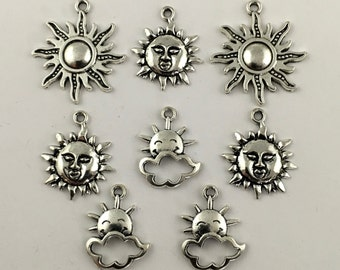 8 sun charms antique silver 20mm to 28mm #CH 200-1