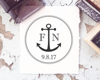 Beach Wedding, Wedding Stamps, Anchor Rubber Stamp, Sea Stamp, Ocean Stamp, Nautical Stamp, Boat Stamp,  Custom Wedding Stamp 10199