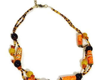 African Beaded Necklace- Seed Beads, Paper Beads, Yellow, Orange, Brown Beads- 18 inches with a 1 inch extender