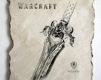 Warcraft Movie Alliance Sword Poster on Handmade Scroll World of Warcraft Poster Alliance Poster